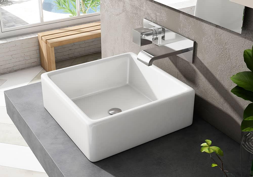 lavabo cuadrado y grifo